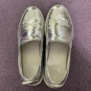 Silver Sequined Loafers
